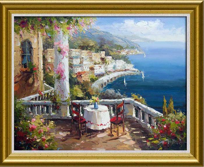 Italian Vineyard Tuscany Sea Landscape Oil Painting 69 85 Albert Original Oil Painting The Art